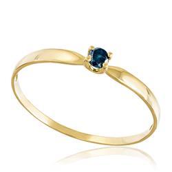 Anel Solitário com Diamante Azul de 10 pts., em Ouro Amarelo