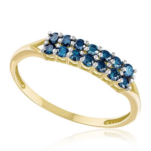 Meia Aliança Dupla com 14 Diamantes Azuis totalizando 50 pts., em Ouro Amarelo