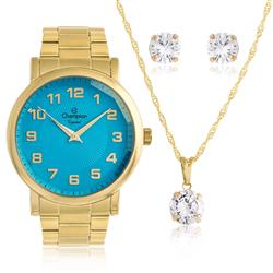Relógio Feminino Champion Analógico CN27198Y Kit Colar e Par de Brincos 52039