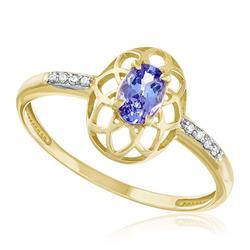 Anel com 8 Diamantes e Tanzanita de 45 pts., em Ouro Amarelo