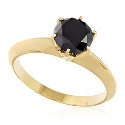 Anel Solitário com Diamante Negro de 1,80 Cts., em Ouro Amarelo