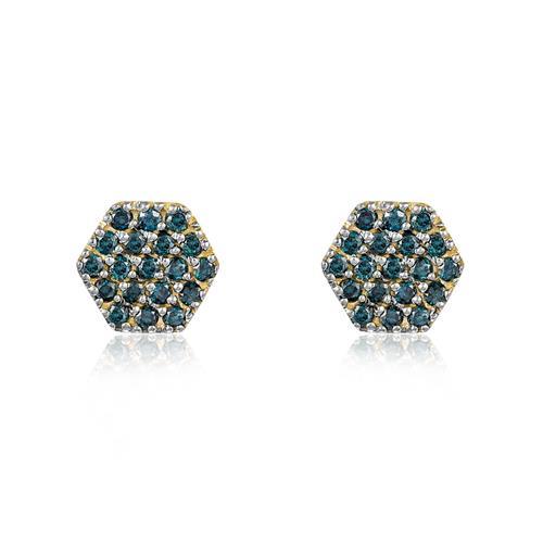 Par de Brincos Chuveiro com 38 Diamantes Azuis totalizando 50 pts., em Ouro Amarelo