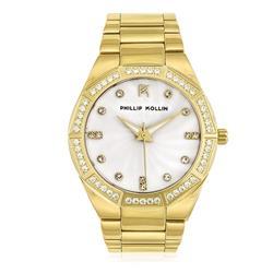 Relógio Feminino Phillip Kollin Malta Gold White Ref Y28092H Dourado