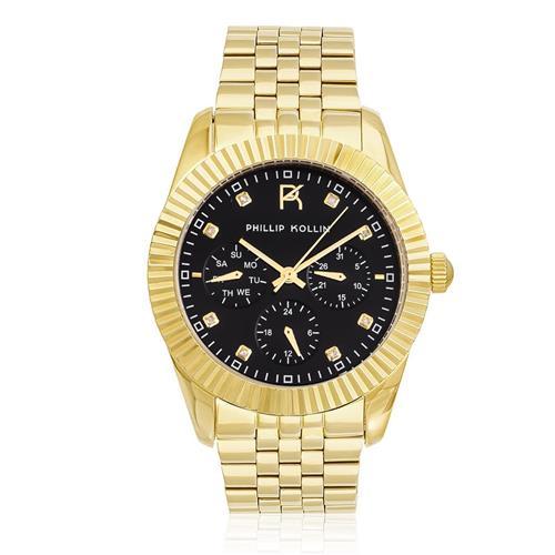 Relógio Feminino Phillip Kollin Bali Gold Black Ref  ZY28065U Dourado