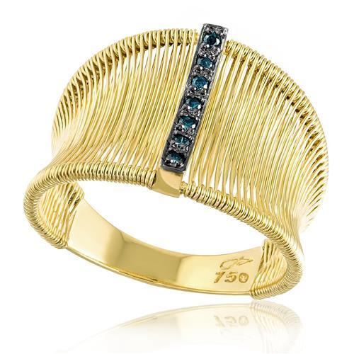 Anel Aramado com 7 Diamantes Azuis, em Ouro Amarelo
