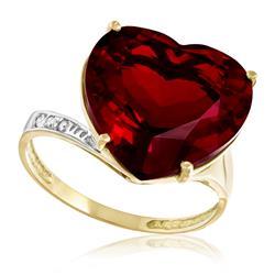 Anel Coração com 3 Diamantes e Quartzo Rubi, em Ouro Amarelo com Detalhe em Ródio