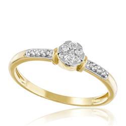 Anel Trabalhado com 15 Diamantes totalizando 30 pts., em Ouro Amarelo