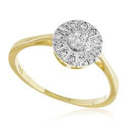 Anel Trabalhado com Diamantes totalizando 15 pts., em Ouro Amarelo
