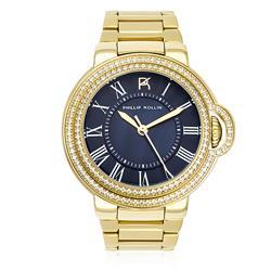 Relógio Feminino Phillip Kollin Malta Gold Blue Ref. ZY28136A Dourado