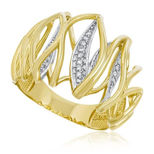 Anel Trabalhado com Diamantes totalizando 50 pts, em Ouro Amarelo 52078