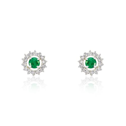 Par de Brincos com 24 Diamantes e Esmeraldas totalizando 30 pts., em Ouro Amarelo