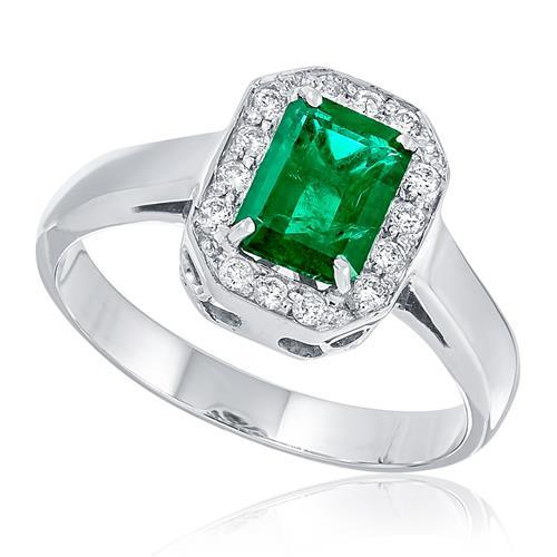 Anel com Esmeralda retangular e Diamantes em volta, ouro branco