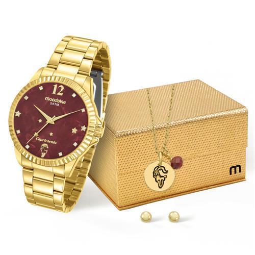 Relógio Feminino Mondaine Analógico 99128LPMKDE8K1 Dourado Capricórnio