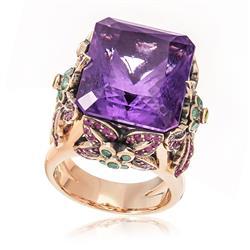 Anel com Diamantes Azuis, Rubis e Ametista de 20,0 Cts., em Ouro Rose