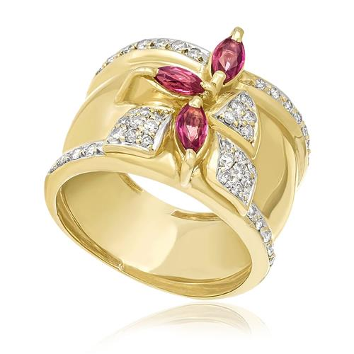 Anel com Diamantes totalizando 44 pts. e Rubilita de 45 pts., em Ouro Amarelo