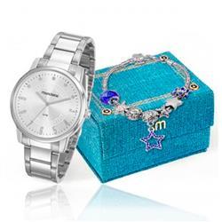 Relógio Feminino Mondaine Analógico 53576L0MKNE3K1 Aço inoxidável