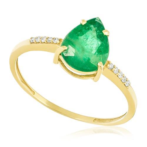 Anel com Diamantes Totalizando 10 Pts. e Esmeralda de 2,0 Cts., em Ouro Amarelo