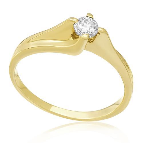 Anel Solitário com Diamante de 22 Pts, em Ouro Amarelo
