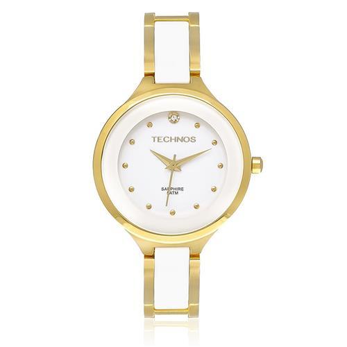 Relógio Feminino Technos Elegance Ceramic Analógico  2035LYW/4B Dourado e cerâmica
