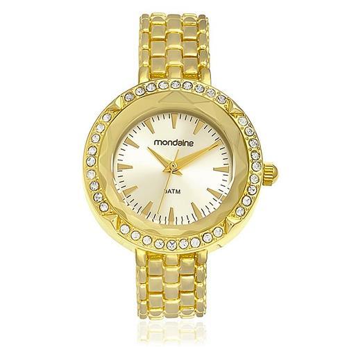 Relógio Feminino Mondaine Clássico Analógico 83258LPMVDM1 Dourado com cristais