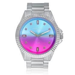 Relógio Feminino Mondaine Analógico 76497L0MVNE3 em aço com mostrador azul e rosa