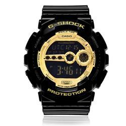 Relógio Masculino Casio G - Shock Digital GD - 100GB - 1DR Preto com detalhes dourados