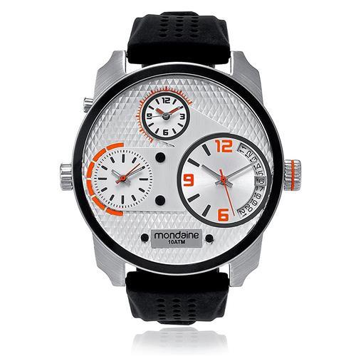Relógio Masculino Mondaine Analógico 78526G0MVNU2 borracha siliconada mostrador prata com detalhes laranja