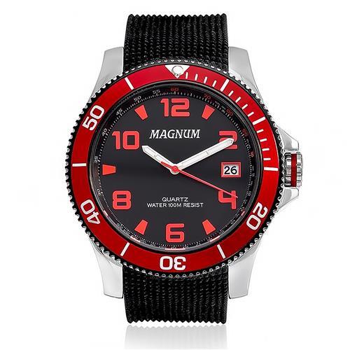 Relógio Masculino Magnum Analógico MA33317V Catraca Vermelha