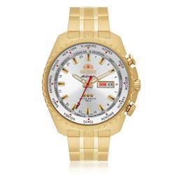Relógio Masculino Orient GMT Automatic Analógico 469GP057 S1KX dourado horario mundial movimento automático