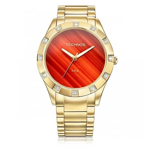 Relógio Feminino Technos Stone Collection Ágata Analógico 2033AB/4R Dourado com cristais