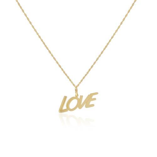 Corrente com Pingente LOVE em ouro amarelo