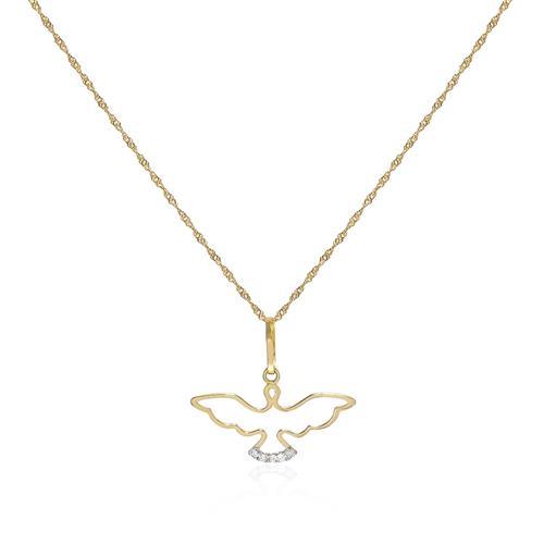 Corrente com Pingente Espírito Santo com 5 Diamantes em Ouro Amarelo