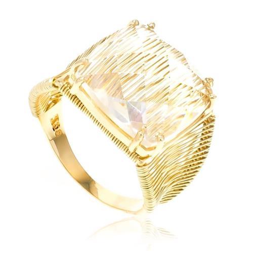 Anel Aramado com Cristal de 10 Cts, em Ouro Amarelo