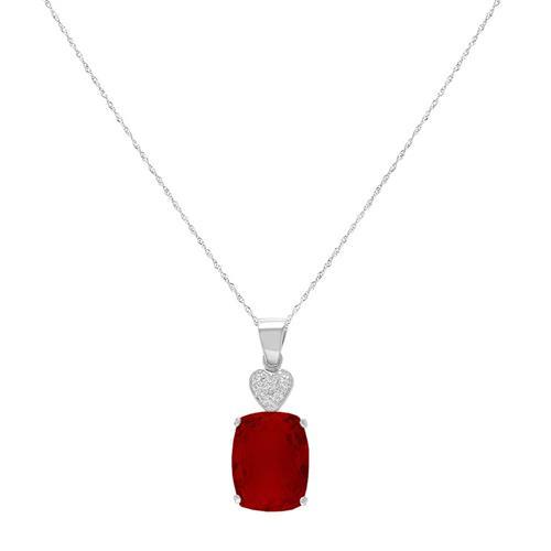 Pingente Coração com 1 Diamante e Quartzo Rubi¸ em Prata