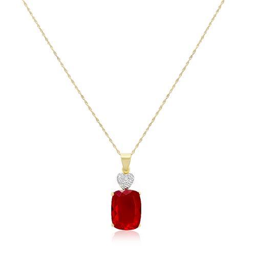 Pingente Coração com 1 Diamante e Quartzo Rubi¸ em Prata Folheada a Ouro com Cor