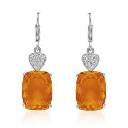 Par de Brincos Corações com 2 Diamantes e Citrino¸ em Prata