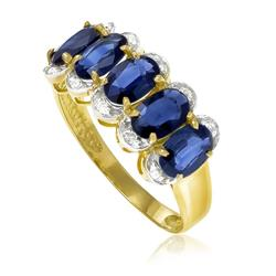 Meia Aliança com 10 Diamantes e 5 Safiras Totalizando 2¸7 Cts¸ em Ouro Amarelo