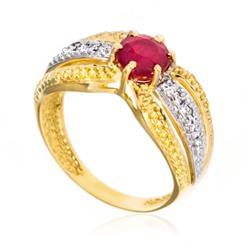 Anel com Rubi e 4 Diamantes Laterais
