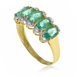 Meia Aliança com 10 Diamantes e 5 Esmeraldas Totalizando 2¸8 Cts¸ em Ouro Amarelo