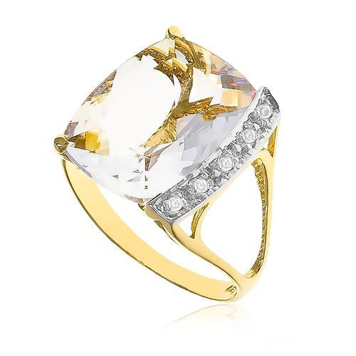 Anel com 5 Diamantes e Cristal retangular de 10 Cts ¸ em Ouro Amarelo