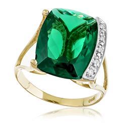 Anel com 5 Diamantes e Blue Green retangular de 10 Cts ¸ em Ouro Amarelo