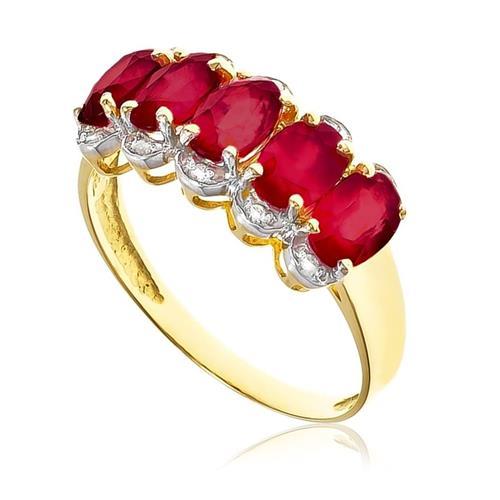 Meia Aliança com 10 Diamantes e 5 Rubis Totalizando 3¸2 Cts¸ em Ouro Amarelo