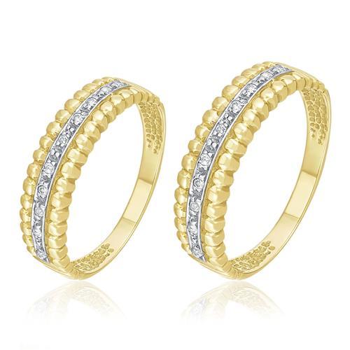 Par de Aparadores em ouro amarelo com 20 Diamantes