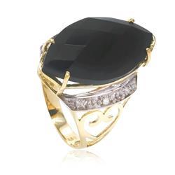 Anel Trabalhado com 6 Diamantes e Ônix¸ em Ouro Amarelo