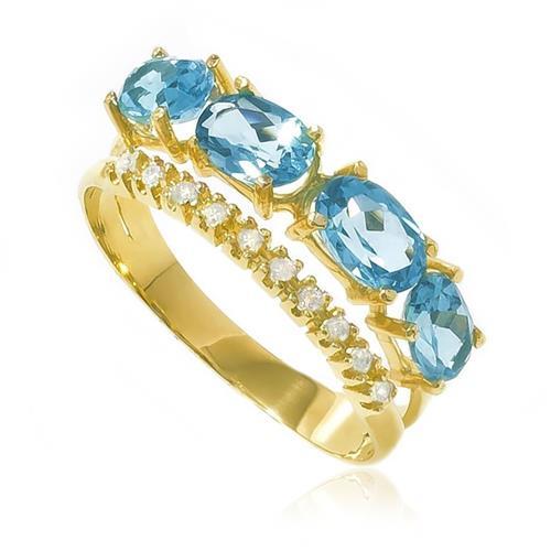 Anel com 10 Diamantes e 4 Topázios Azuis totalizando 1,6 Cts, em Ouro Amarelo