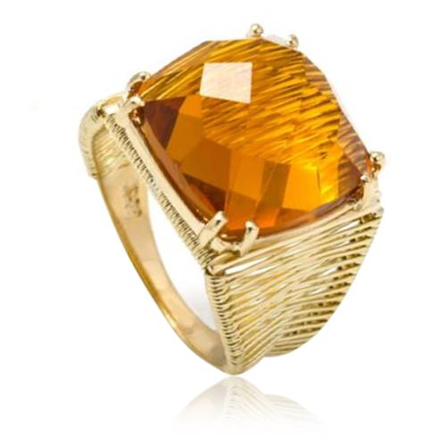 Anel Aramado com Citrino de 10 Cts em Ouro Amarelo