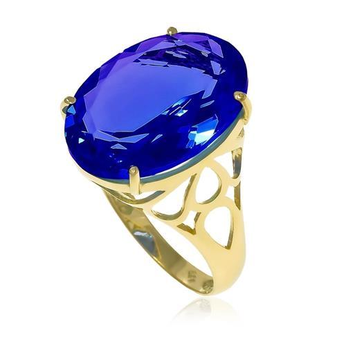 Anel Oval em Cristal de Tanzanita totalizando 9¸5 Cts