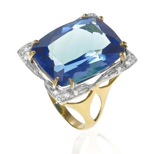 Anel com 12 Diamantes e Topázio Azul de 12 Cts em Ouro Amarelo
