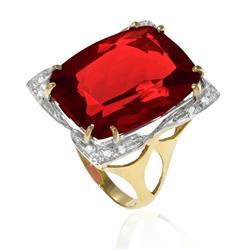 Anel com 12 Diamantes e Quartzo Rubi de 12 Cts em Ouro Amarelo