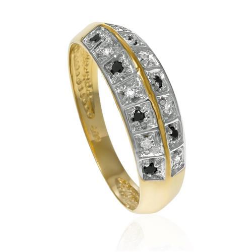 Anel com 7 Diamantes Negros e 7 Diamantes¸ em Ouro Amarelo com Detalhes em Ródio